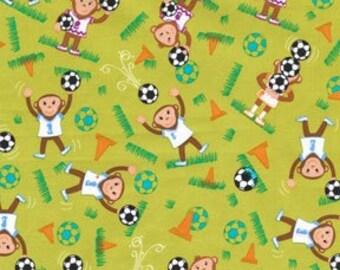 SALE Soccer Monkey in green by Michael Miller