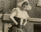 Vintage Photo Young Woman, College Student in Dutch Girl Costume - Dates to the 1910's