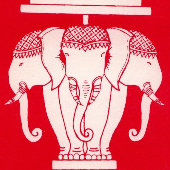 Set of  Five Elephant Stickers