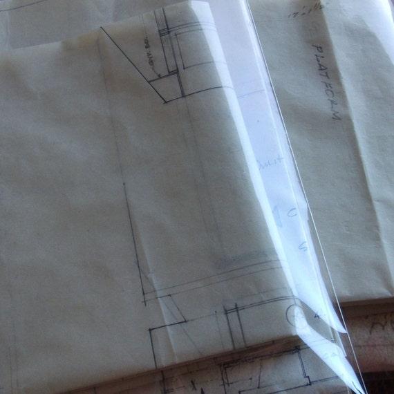 Vintage Architectural Ephemera Packet - Blueprints, Vellum and Book Illustrations