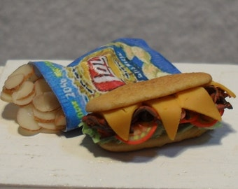 Mini Sub Sandwich and chips