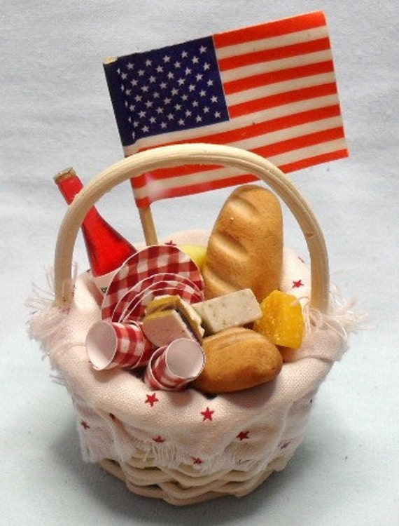 Red, white and blue mini picnic basket