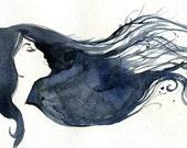 Watercolor Fashion Illustration- Blue Streak print