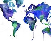 Watercolor World Map Illustration: Earth in Technicolor print