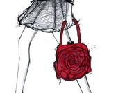 Mixed Media Fashion Illustration: Valentino Red Purse Print