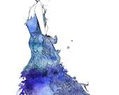 Watercolor Fashion Illustration- Starstruck Dress print