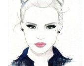 Watercolor and Pen Fashion Illustration - She Wore Chanel print