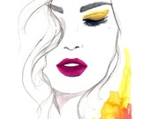Watercolor and Pen Fashion Illustration, Jessica Durrant - The Fuchsia Lip print version