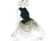 Dior Does Ombre print version, Watercolor Fashion Illustration by Jessica Durrant