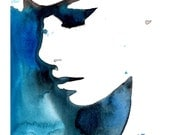 Original Watercolor painting by Jessica Durrant titled Black and Blue for You