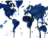 """World Map Series by Jessica Durrant, It's a Blue Blue World print version sized 16 x 20"""""""