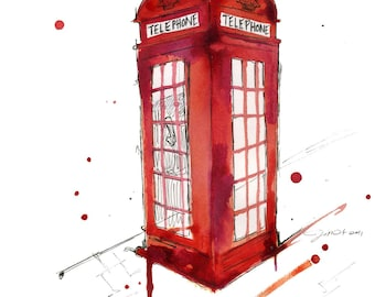 Watercolor Travel Illustration - London's Calling