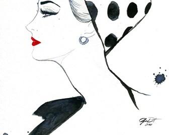 Watercolor Fashion Illustration - Polka Dot Glam print