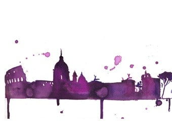 Watercolor Travel Illustration - A Perfect Evening in Rome print