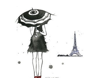 Watercolor Fashion Illustration - A Day of Rain in Paris, print