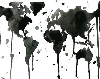 Watercolor Travel Illustration - It's a Black and White World print