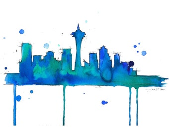 Watercolor Travel Illustration - Seattle Blues print