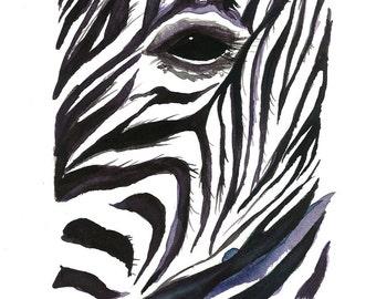 Watercolor Illustration Print-Zebra Stripes