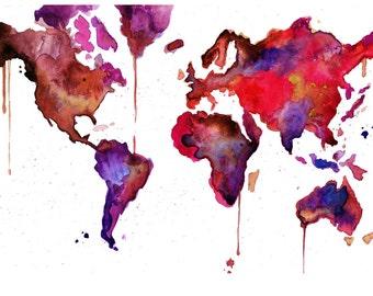 Watercolor World Map No. 11 print