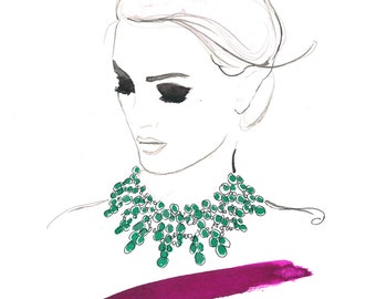 Watercolor Fashion Illustration - Dreamy Necklace print