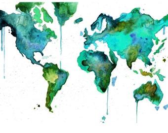 "Watercolor World Map No. 6 18 x 24"" print"