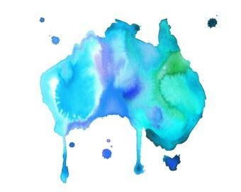 Watercolor Australia Travel Illustration - Australian Dreams No. 3 print