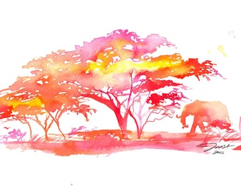 Watercolor Africa Inspired Painting, Jessica Durrant - A Little Slice of Africa print version