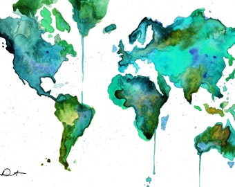 Watercolor World Map No. 6