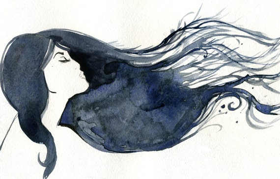 Watercolor Fashion Illustration- Blue Streak print