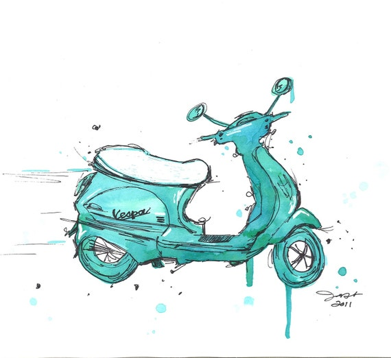 Watercolor and pen travel illustration - The Mint Vespa print