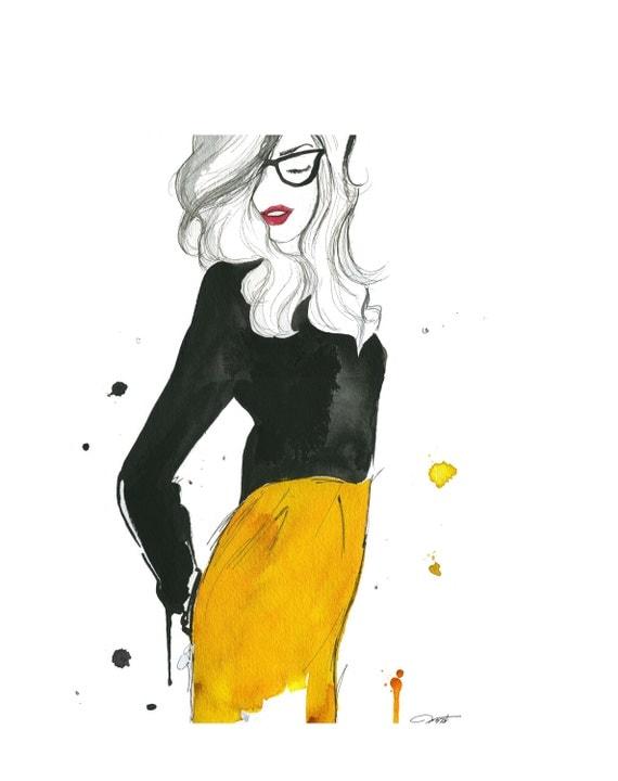 Watercolor Fashion Illustration - The Geek Next Door print