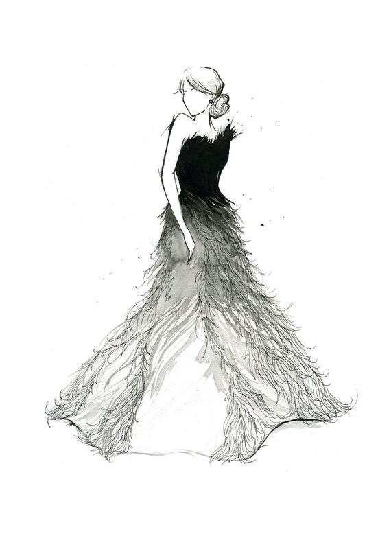 Watercolor Fashion Illustration - Fade to White print