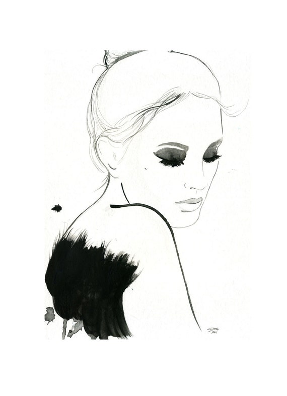 Watercolor and Pen Fashion Illustration - Dark Ballerina print