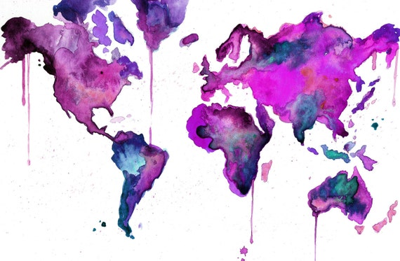 Watercolor Map Illustration - World Map No. 8