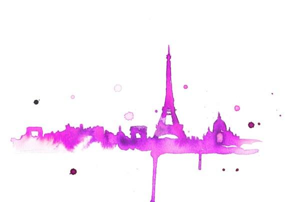 Watercolor Travel Illustration - It's A Hot Pink Paris print