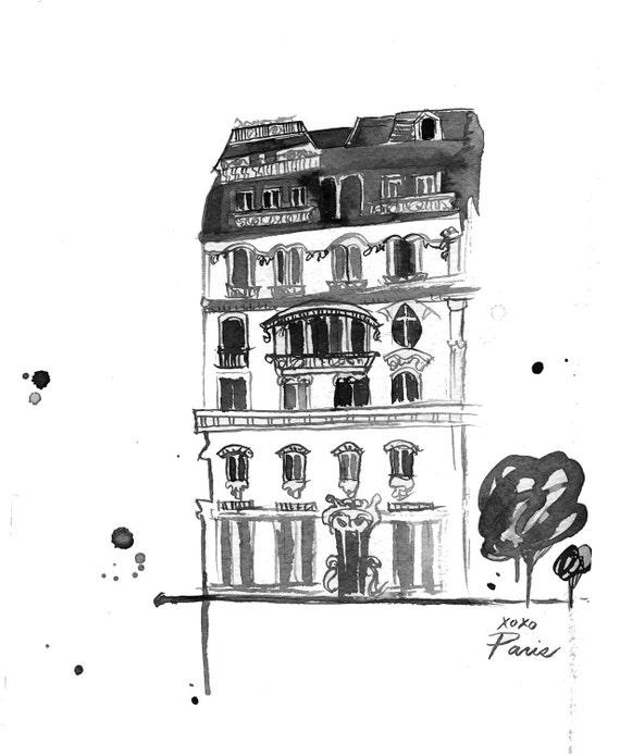 Watercolor Travel Illustration - Xoxo Paris Black and White Edition print