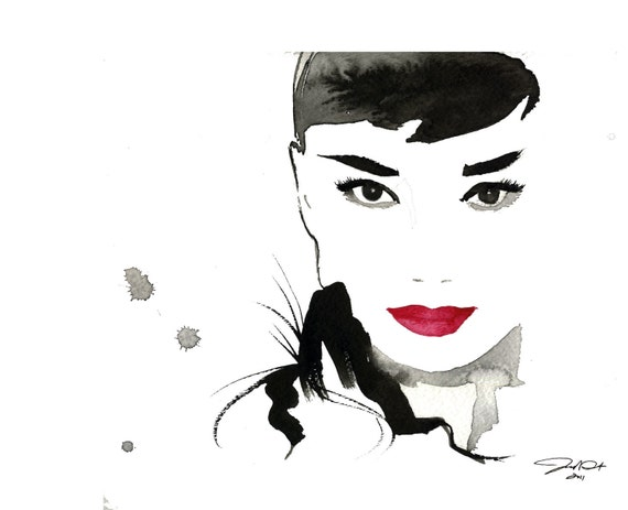 Original Watercolor Fashion Illustration - Gesture of Audrey painting