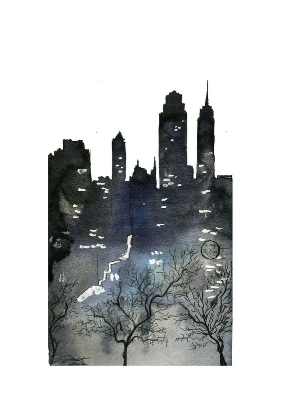 Watercolor and Pen NYC illustration - The City That Never Sleeps print