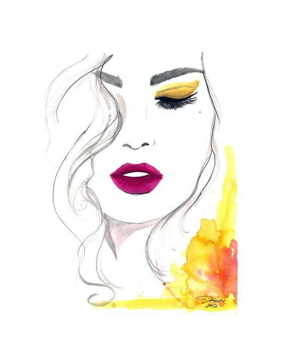 Original Watercolor and Pen Illustration - The Fuchsia Lip