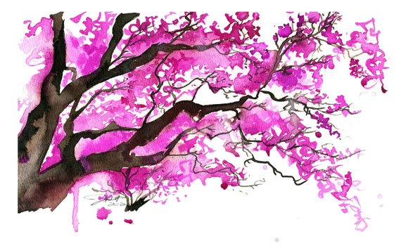 Watercolor Japanese Cherry Blossom Tree Painting, Jessica Durrant - The Cherry Blossom Tree print