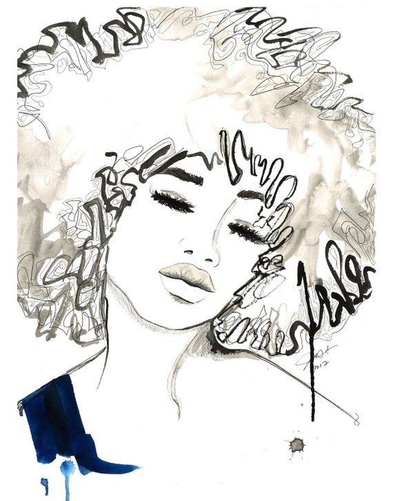 Print from Watercolor and Pen African American Fashion Illustration, Jessica Durrant, - The Afro