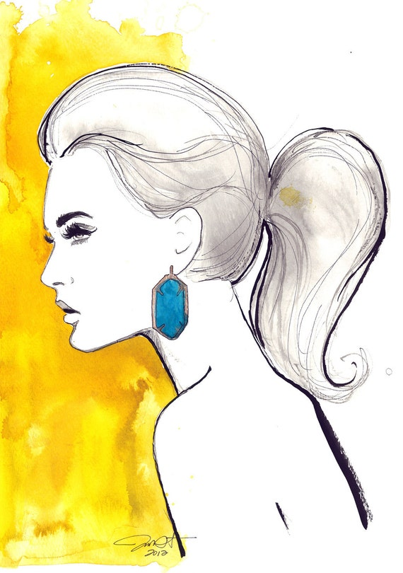 Original Watercolor and Pen Fashion Illustration, Jessica Durrant - Yellow & Turquoise