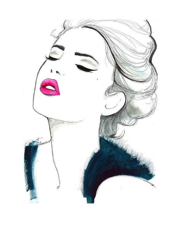 Print from original watercolor and pen fashion illustration, by Jessica Durrant titled Different Day