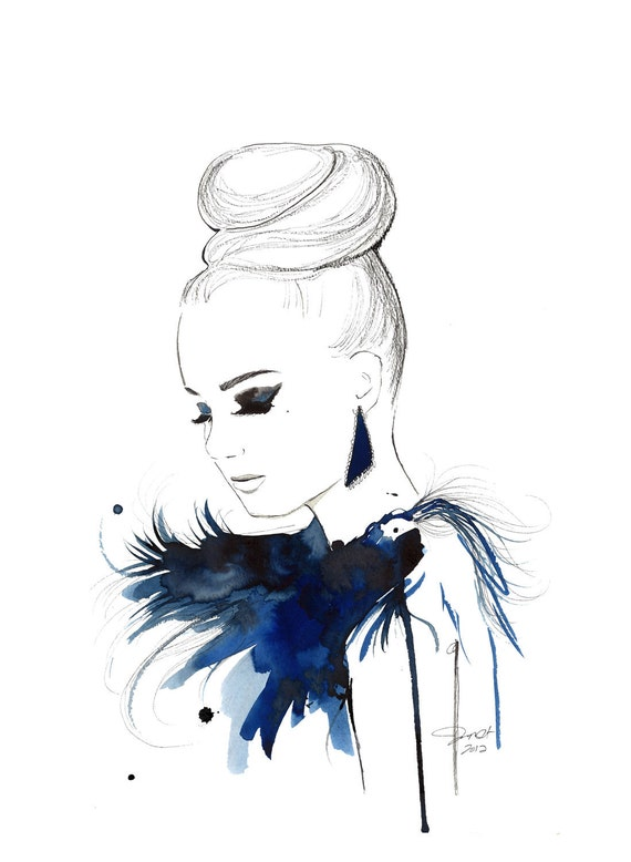 Print from original watercolor, pen and china marker fashion illustration by Jessica Durrant -Bird of Paradise