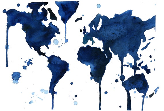World Map Series by Jessica Durrant: It's A Blue Blue World print version sized 18 x 24""