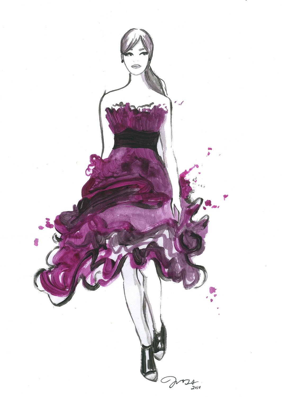 Watercolor Fashion Illustration: Pink Ruffles print