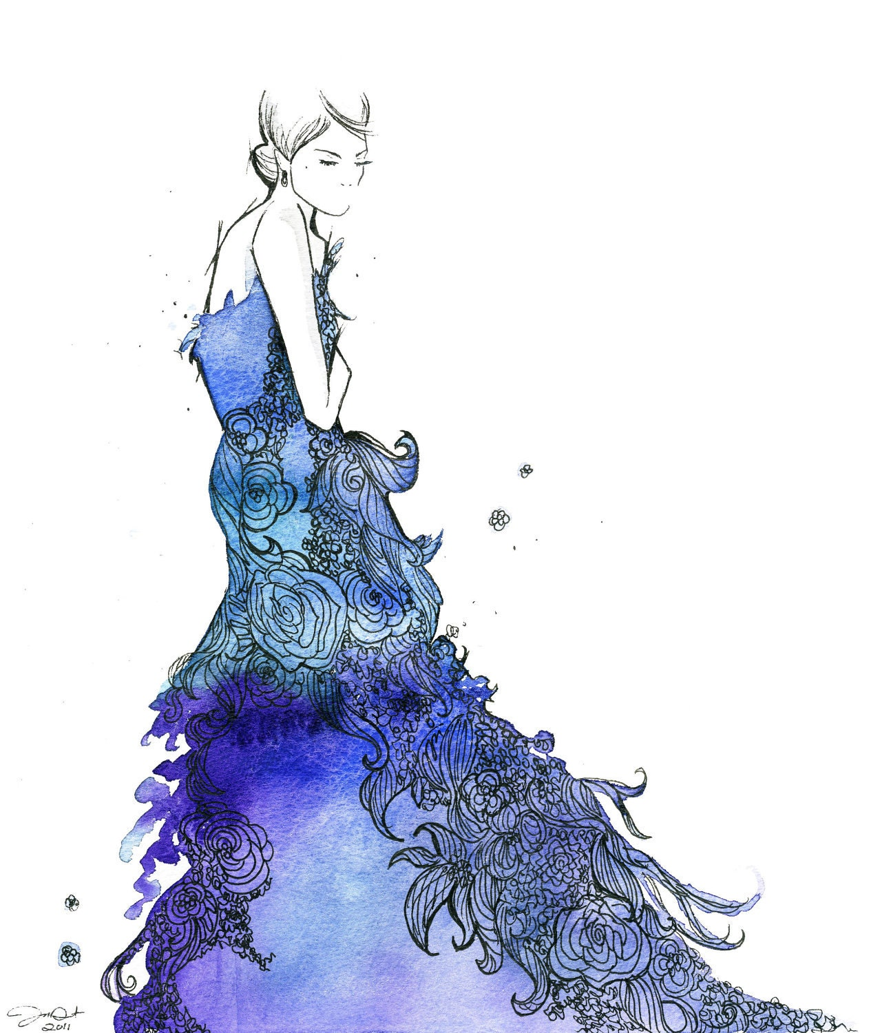 watercolor fashion illustration starstruck by