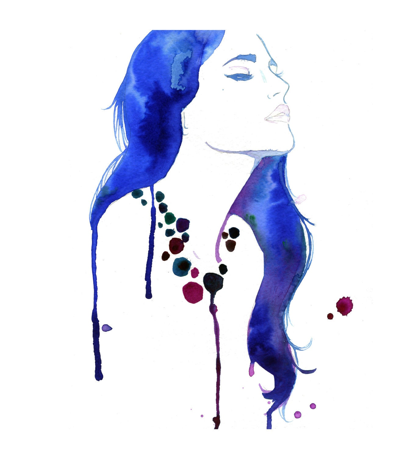 Watercolor fashion illustration girl gone blue print