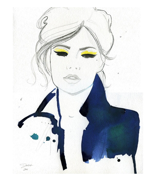 Watercolor Fashion Illustration Pretty Parisian print