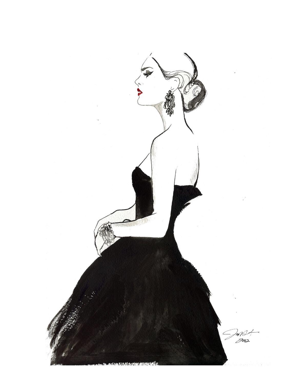 original watercolor and pen fashion illustration vintage